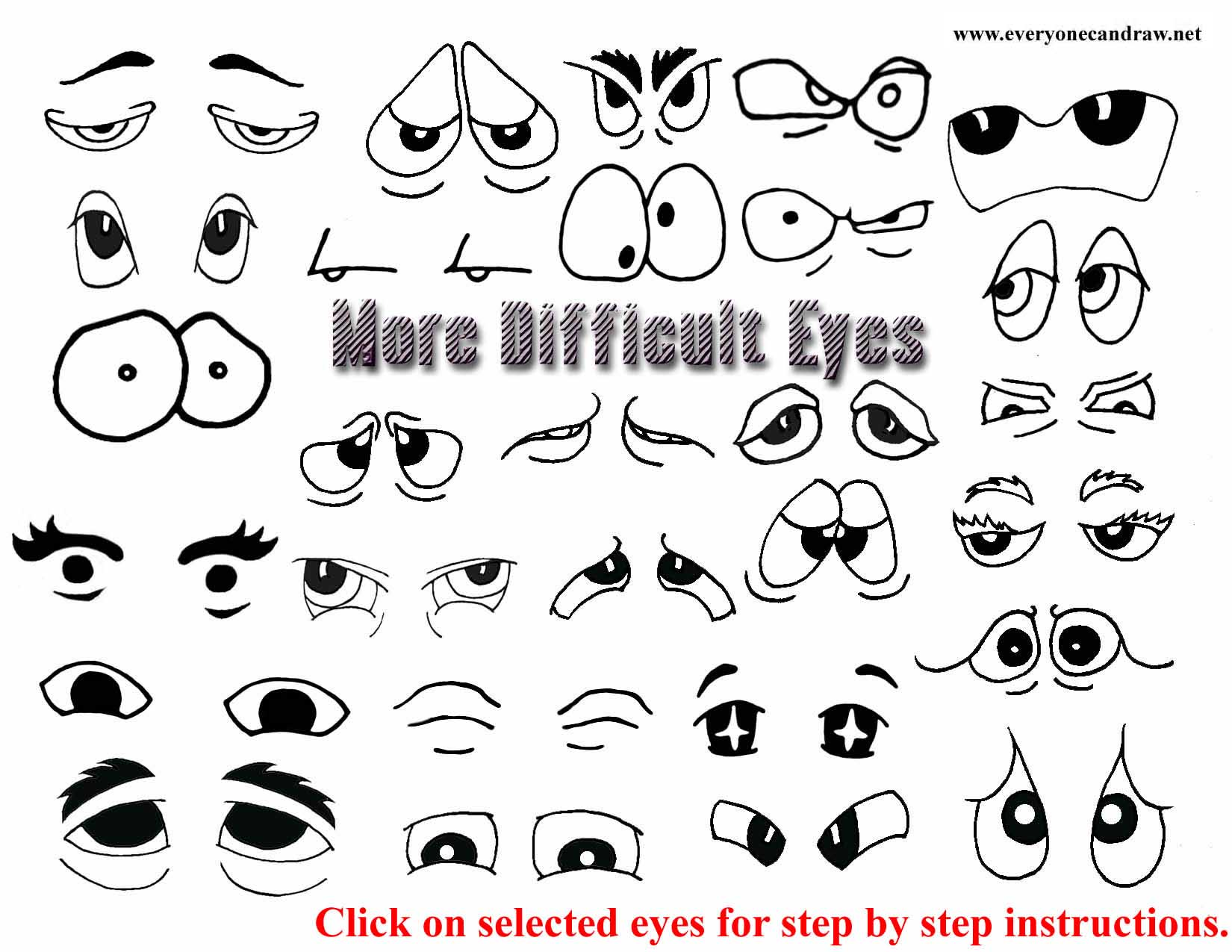 how to draw cartoon eyes