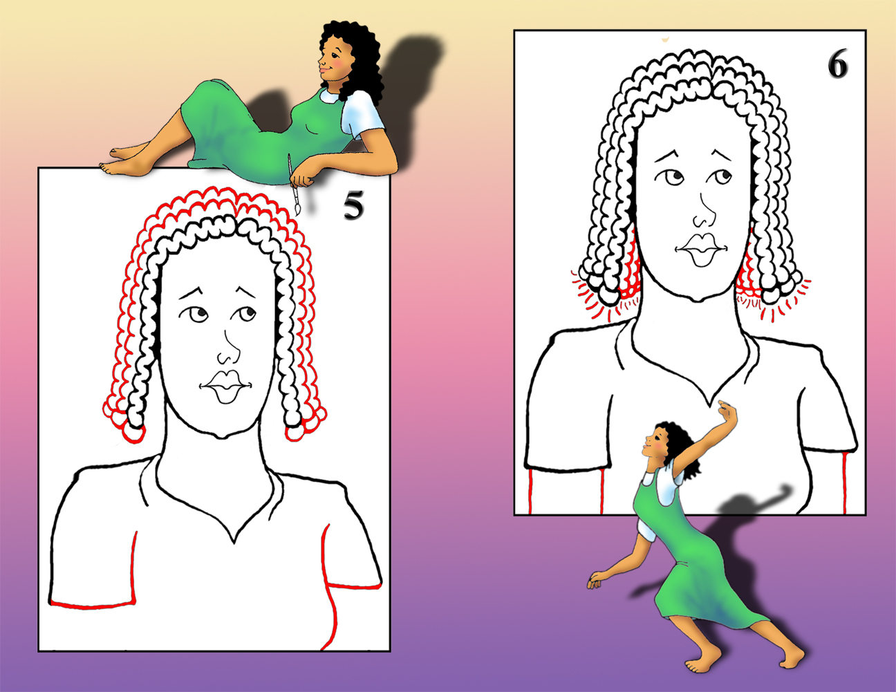 how to draw a girl with braids
