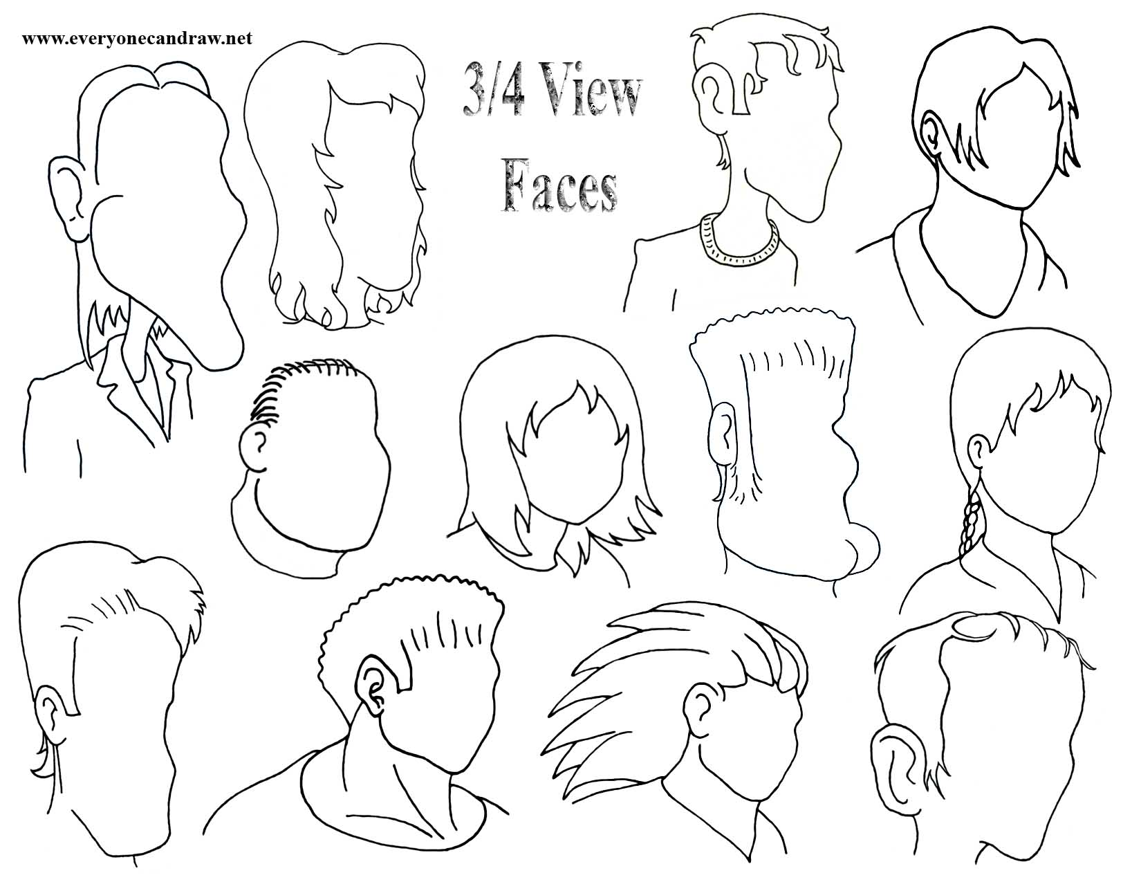 Facing right- 3-4 view faces 4
