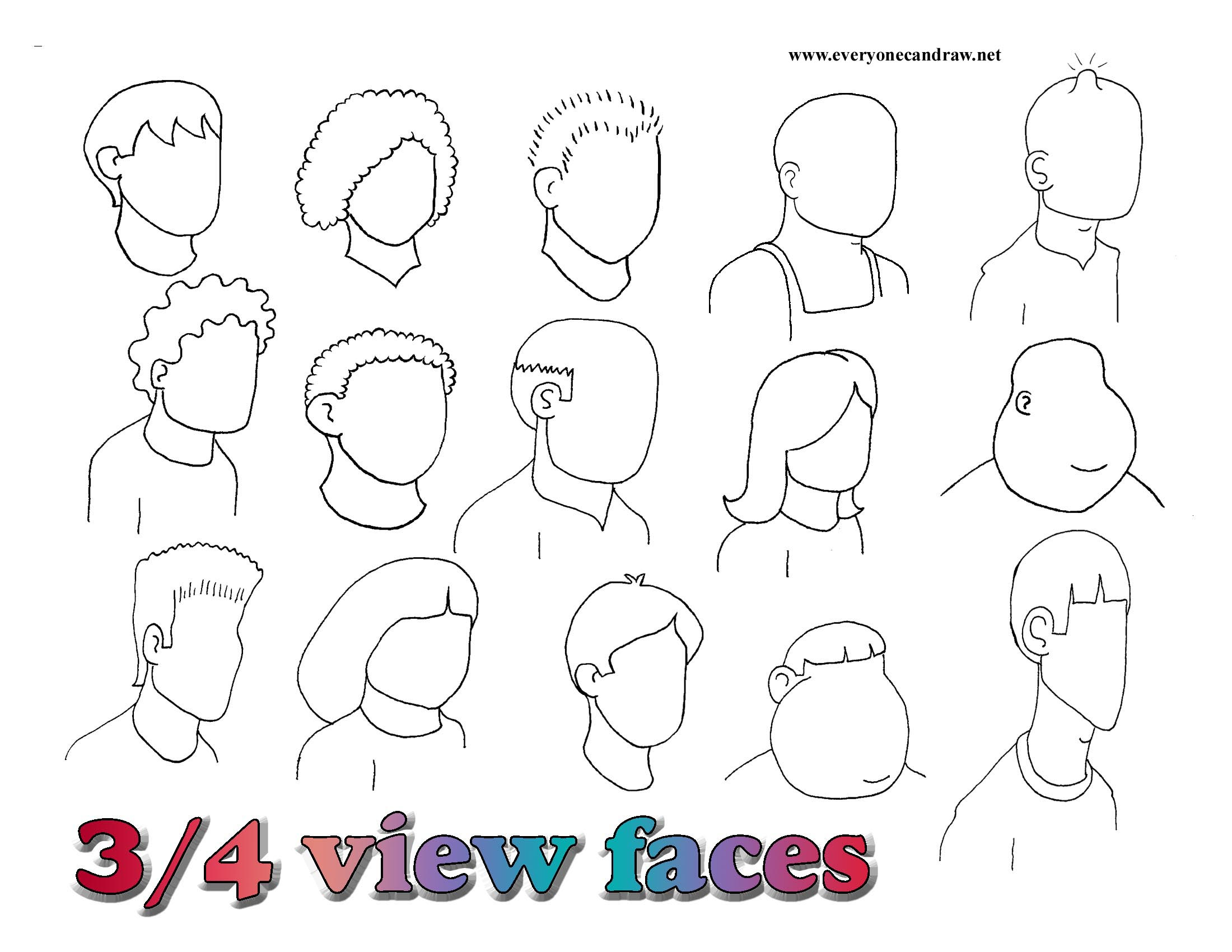 Facing right- 3-4 view faces