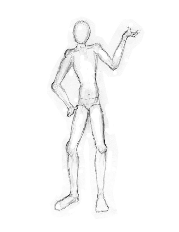 manikin drawing step by step 40